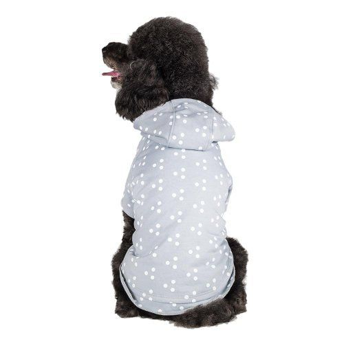 Blueberry Pet 16-Inch Tee Polo Polka Dot Cotton Dog Hoodie, X-Large, Grey and White - http://www.thepuppy.org/blueberry-pet-16-inch-tee-polo-polka-dot-cotton-dog-hoodie-x-large-grey-and-white/