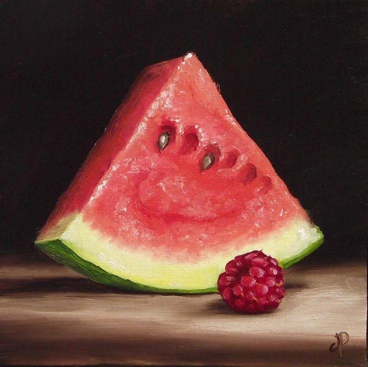 Watermelon and Raspberry, J Palmer Daily painting Original oil still life Art