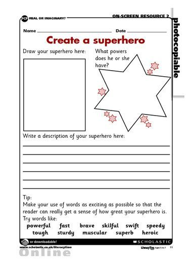 FREE printable activity sheet to draw and describe a superhero character, including descriptive adjectives