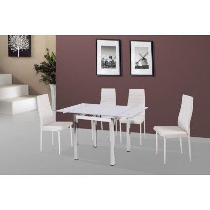 Camden White Extending Table With 4 Chairs Dining Set Tradepricefurniture