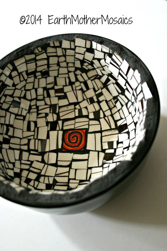 Etsy Mosaic Black and White Bowl  Black and by earthmothermosaics
