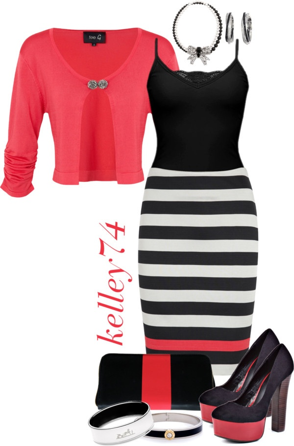 """Zigi Heels and Striped Pencil Skirt"" by kelley74 on Polyvore"
