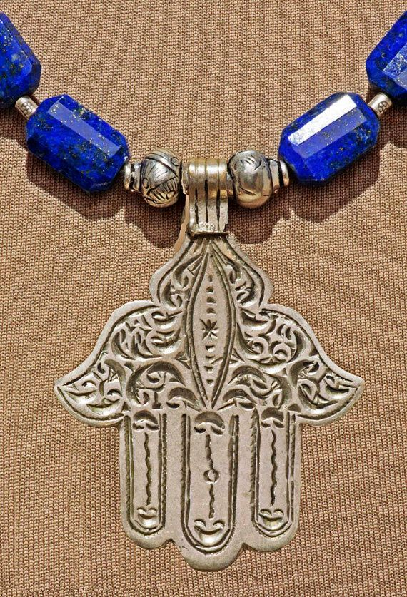 A vintage handmade Hamsa or Khamsa from Morocco in quality Silver .....  Fantastic VERY high quality, deep blue faceted Lapis Lazuli from