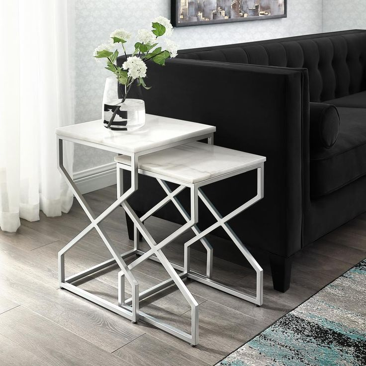 Inspired Home Mikio Silver End Table With Natural Marble Top Et132 24ws Hd The Home Depot Nesting End Tables End Tables Coffee Table Square