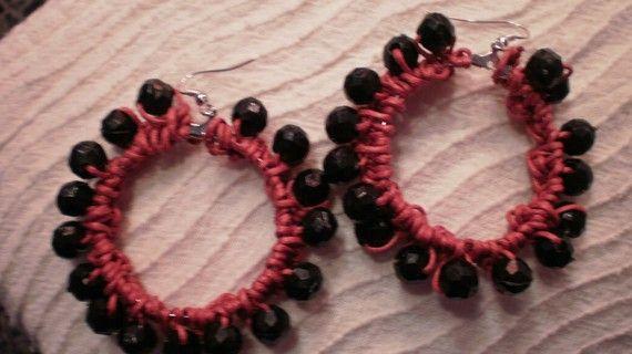Hippie crochet red earrings / ready to ship by KaterinakiJewelry