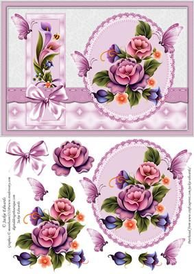 Enchanted Garden A5 Card Front on Craftsuprint designed by Jackie Edwards - A5 card with decoupage.  - Now available for download!