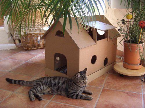 Katzenhaus aus Wellpappe mit Mäusehäuschen – Katzenkorb, Katzenhöhle