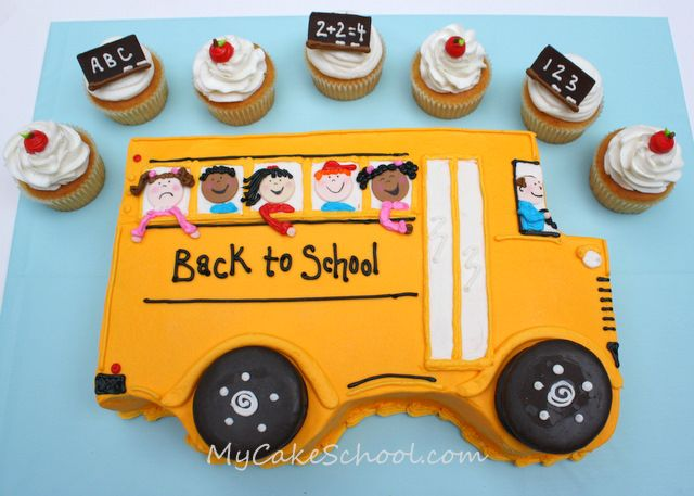 Back to School Cake & Cupcakes!~ Tutorial by MyCakeSchool.com