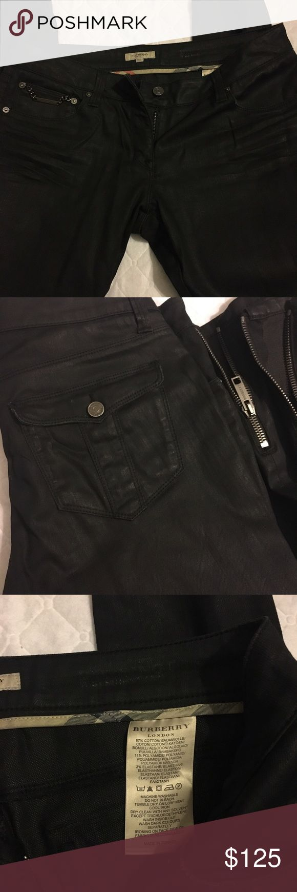 Burberry black waxed coated pants Black, wax coated pants. Zippered ankles and an approximate inseam of 27 inches (cropped). Burberry Pants Ankle & Cropped