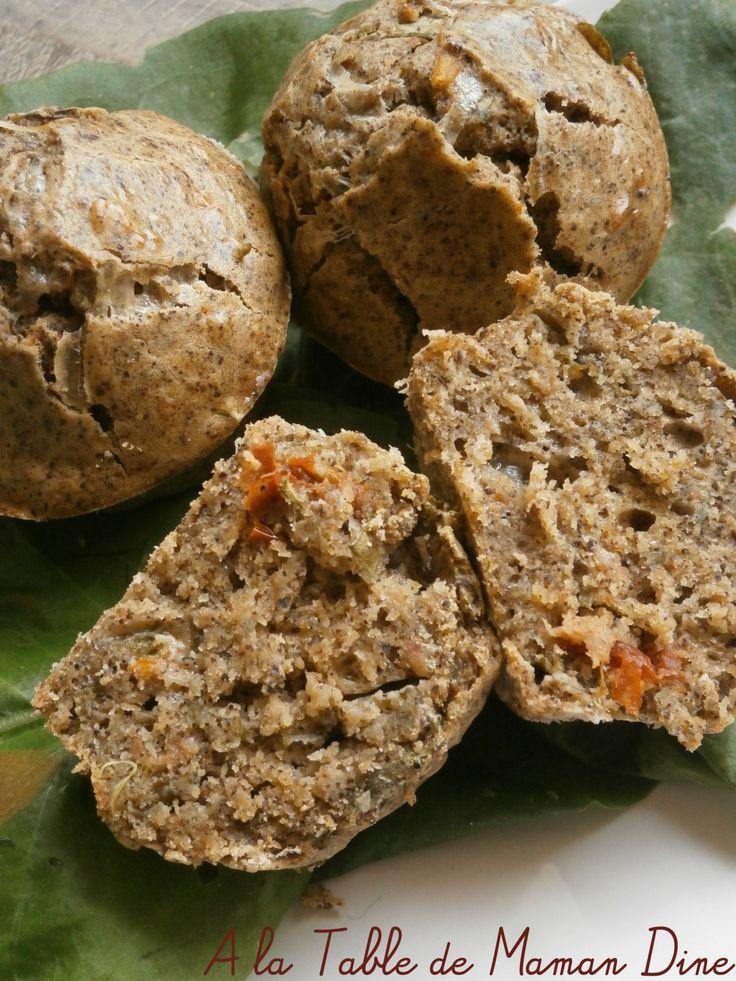 Muffins végétaliens salés à l'oseille, tomates séchées & ..... farine de chanvre ~Défi cuisine : les farines ont plus d'un tour dans leur sac ~