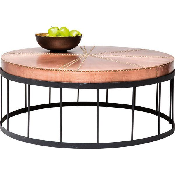 A stylish, copper look coffee table. Those looking for an unusual coffee table will be delighted at the sight of this very special piece of furniture! The Rivet Coffee Table makes an impact with its copper look top and artistic ornamentation. The rounded formal idiom creates a modern appearance, while the frame makes an airy impression, with the top seeming to float on it.