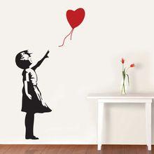 Banksy duvar çıkartma, balon kız ilham- banksy vinil duvar sanatı etiket, ücretsiz kargo a2064(China (Mainland))