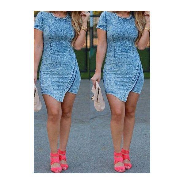 Rotita Acid Wash Denim Bodycon Dress ($24) ❤ liked on Polyvore featuring dresses, blue, body con dress, denim bodycon dress, mini dress, sheath dresses and bodycon dress
