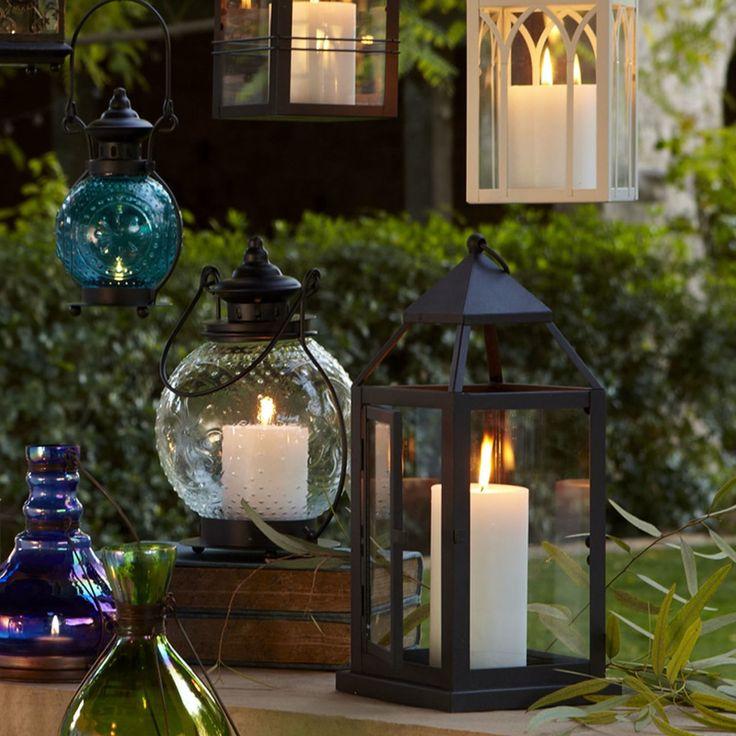 Lanterne et chandelle de chez Pier 1 Import, éclairage de terrasse.
