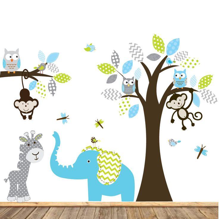 Pájaros de elefante monos búho del patrón chico por wallartdesign