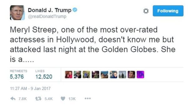 """President-elect Donald Trump hit back at esteemed actor Meryl Streep who criticized him in her acceptance speech for her lifetime achievement award at the Golden Globes in Los Angeles last night.  """"She is a Hillary flunky who lost big,"""" Trump tweeted, as he insisted once again that he never mocked reporter Serge Kovaleski at a South Carolina rally in November of last year.  Trump's denial that he never imitated Kovaleski, who has a congenital joint condition, is absurd and a most concerning…"""