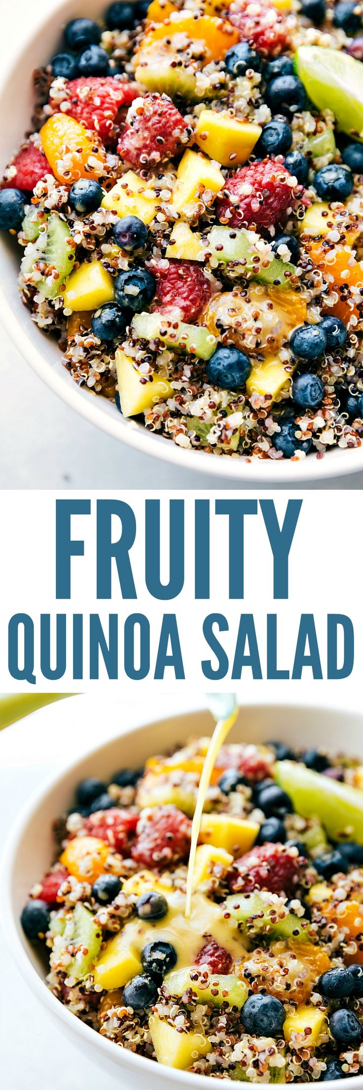 Fruity Quinoa Salad combines fresh fruit and quinoa with a tangy citrus dressing. This is pure bliss in a bowl and will keep you on track with your healthy eating!
