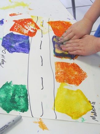 cool preschool map project --  combine art and the block area with this mapping project. Children can build and document the building through an art project