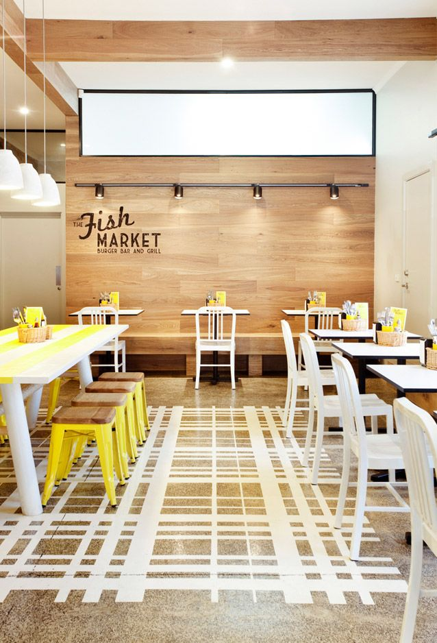 inspiring interior in a fish market with fresh yellow details 79 ideas - Restaurant Design Ideas