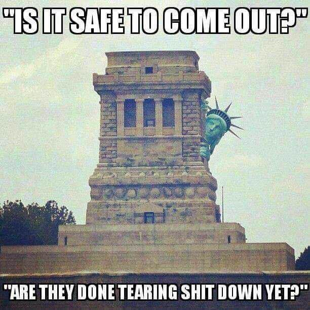 """Statue of Liberty asking """"Is it safe to come out?"""""""