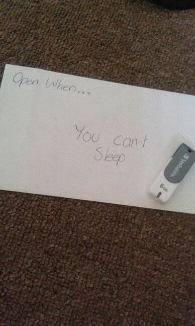 In this particular letter i gave her some tips on things you can do when you cant sleep as she struggles sleeping more often than not, i also included a usb with some songs that fit that same brief