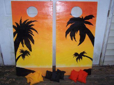 Sunset Beach Cornhole Boards