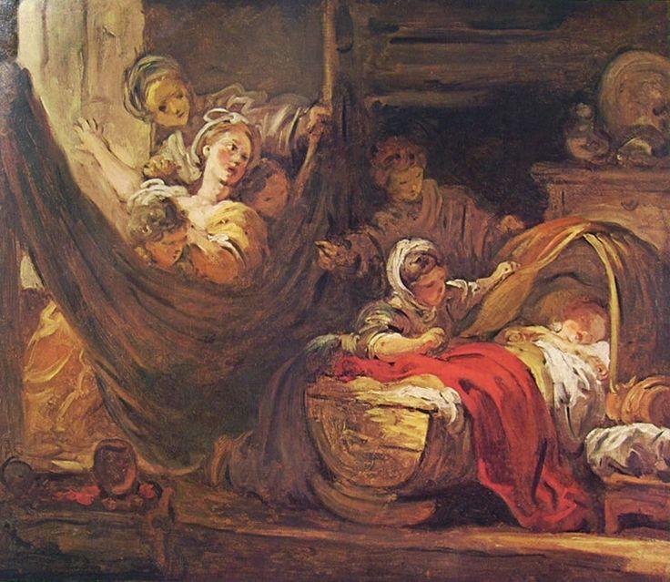 """Jean-Honorè Fragonard, """"La culla"""", 1777-79, olio su tela, 46 x 55 cm, Musée de Picardie ad Amiens."""