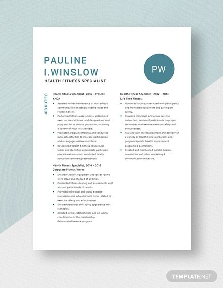 health fitness specialist resumecv template  word doc