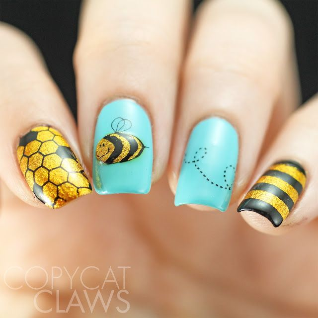 The Digit-al Dozen does New & Improved/40 Great Nail Art Ideas Things That Fly - Advanced Stamping Bees
