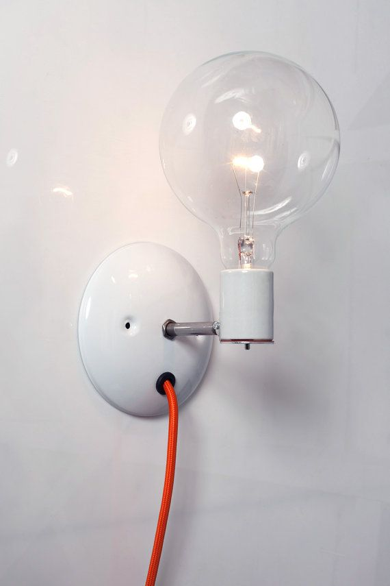 Industrial Wall Sconce Bare Bulb Light Plug In by IndLights - Best 25+ Plug In Wall Sconce Ideas On Pinterest Plug In