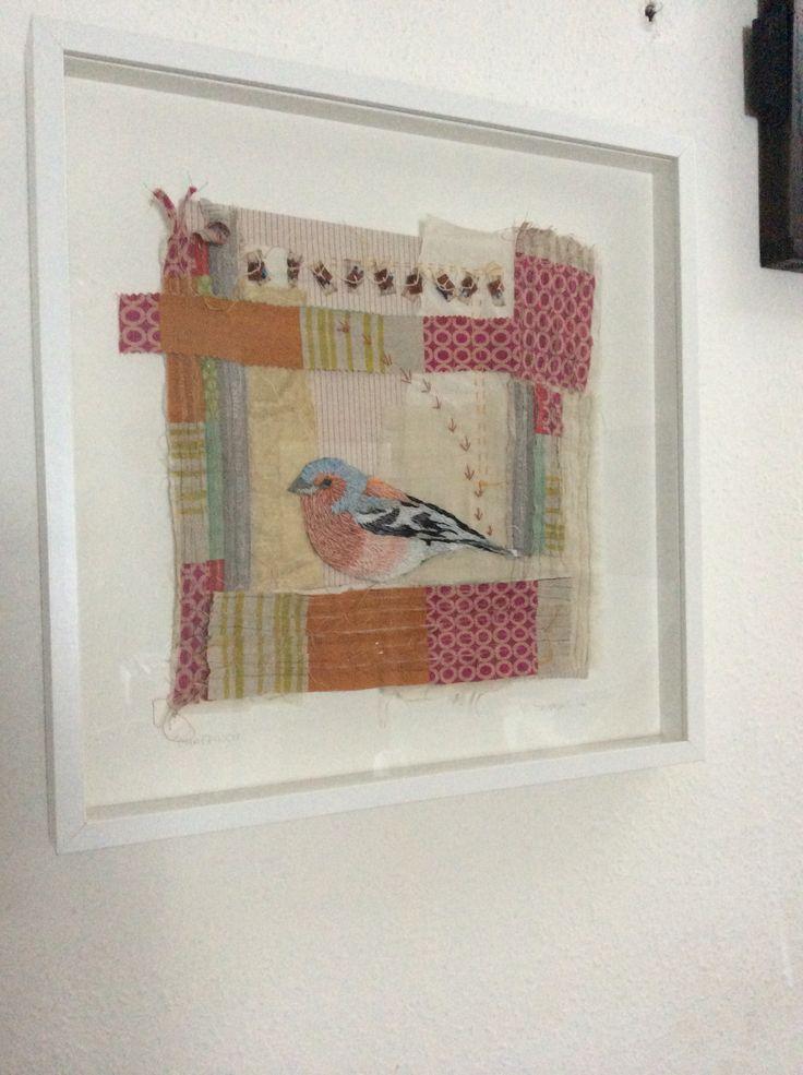 Chaffinch from Irish garden birds series. Hand embroidery. www.violetshirran.com