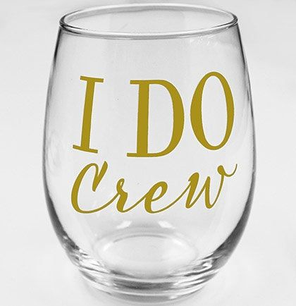 Modern I Do Crew Stemless Wine Glass