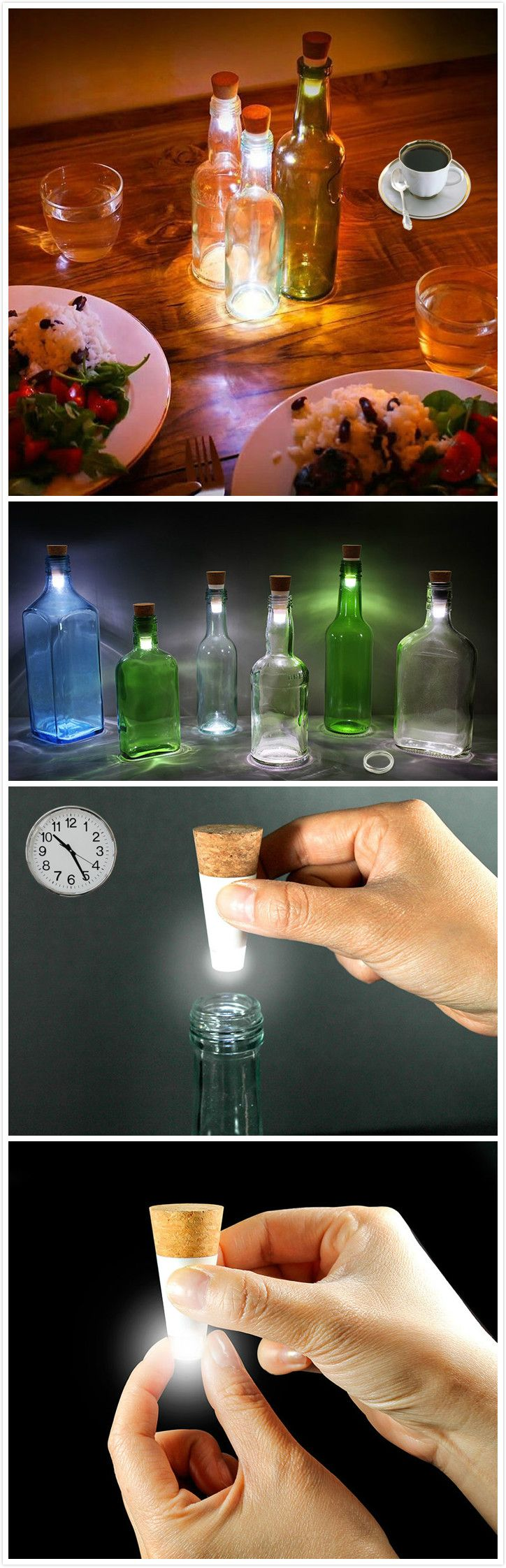 Cork Shaped Rechargeable USB LED Night Light Empty Wine Bottle Lamp.#gadgets #light