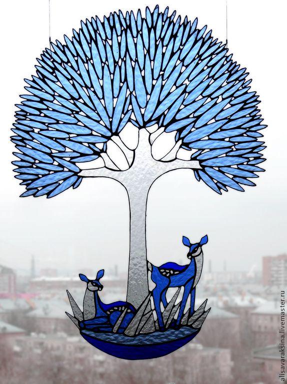 """Купить """"Дерево"""" - голубой, Витраж Тиффани, авторская ручная работа, детская комната, девушкам"""