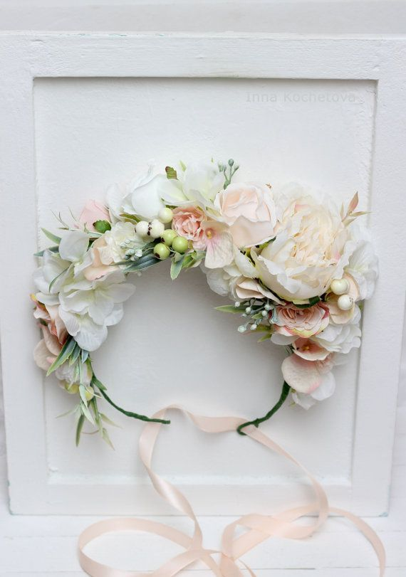 One Ivory Peony Crown White Peach Flower Crown Floral