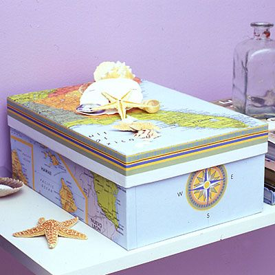 Use a map from your vacation and small mementos collected along the way to decorate a medium-size shoebox.