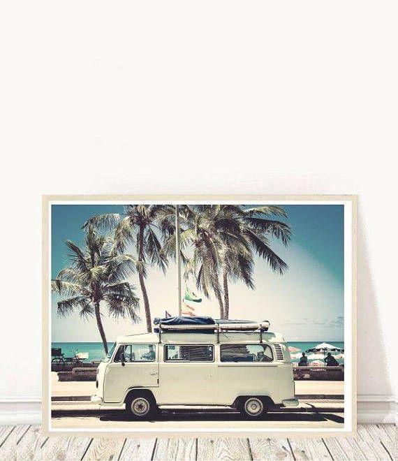 VW Camper Van Vintage Large Wall Art Poster Print