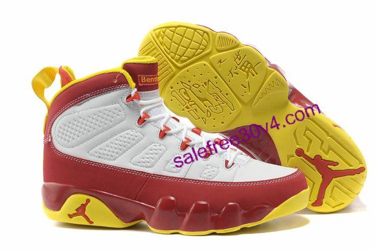 Jordan Retro 9 White Red Yellow   #Yellow  #Womens #Sneakers