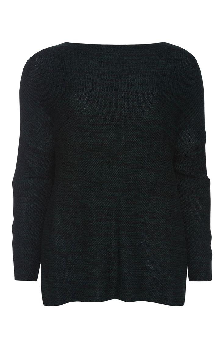 Verdraaid gebreide groene trui