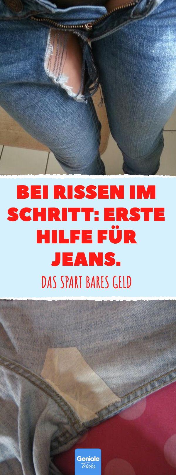 Bei Rissen im Schritt: Erste Hilfe für Jeans. Riss im Schritt flicken: So rettest du deine Jeans. #jeans #flicken #reparieren #nähen #loch #riss #stoff – Melanie Jans