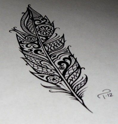 Detailed feather tattoo