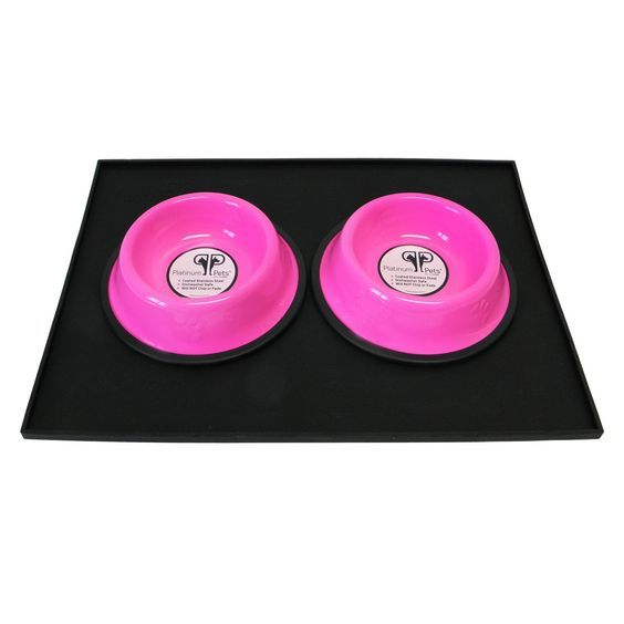 Platinum Pets Heavy-Duty Silicone Feeding Puppy Mat with 2 6-Ounce Embossed Puppy Bowls, Pink *** Quickly view this special dog product, click the image : Dog bowls