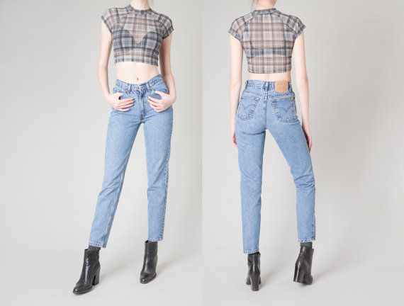 HIGH WAIST jeans Levi's 512 skinny jeans Vintage women mom denim levis / 27 waist / size 5 / better stay together