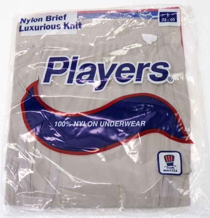 NOS Vintage Players 100% Nylon Briefs Underwear Mens L 38-40 GRAY 80s 90s NOS #Players