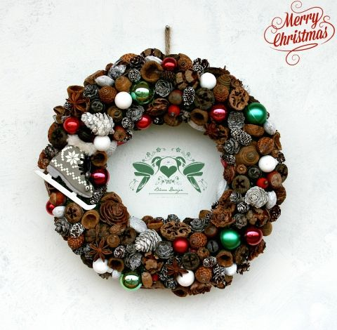 Bluer - Karácsony - tradicionális adventi ajtódísz csengettyűvel, Otthon, lakberendezés, Dekoráció, Ünnepi dekoráció, Meska #wreath #advent #christmas