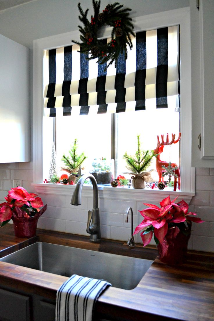 best 25 kitchen window curtains ideas on pinterest farmhouse decking the halls my christmas kitchen window