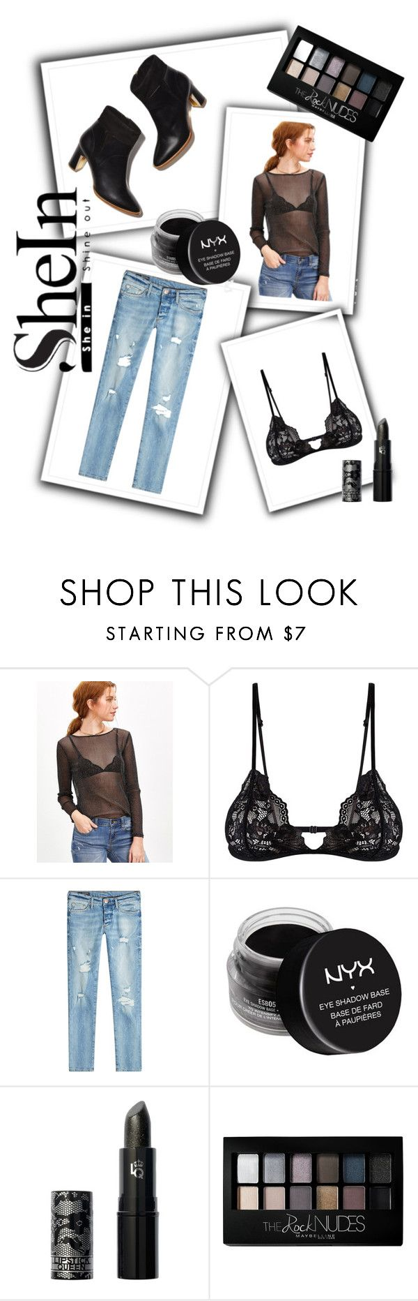 """""""Mesh."""" by emiam ❤ liked on Polyvore featuring Mosmann, True Religion, NYX, Lipstick Queen and Maybelline"""