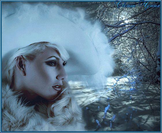 Animazione La bionda su uno sfondo di rami coperti di neve, da Svetlana Alien, SIFCO bionda su uno sfondo di rami coperti di neve, di Svetlana Alien