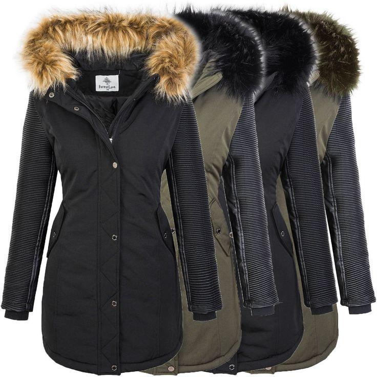 Damen jacke winterjacke parka mantel kunstleder ärmel outdoorjacke warm D-347