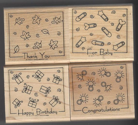 Fabulous Four Retired 2004 Stampin Up 4 Stamp Set in Original